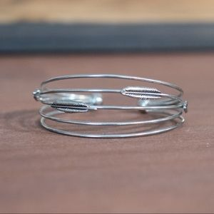 Silver Cuff Bracelet with Feathers